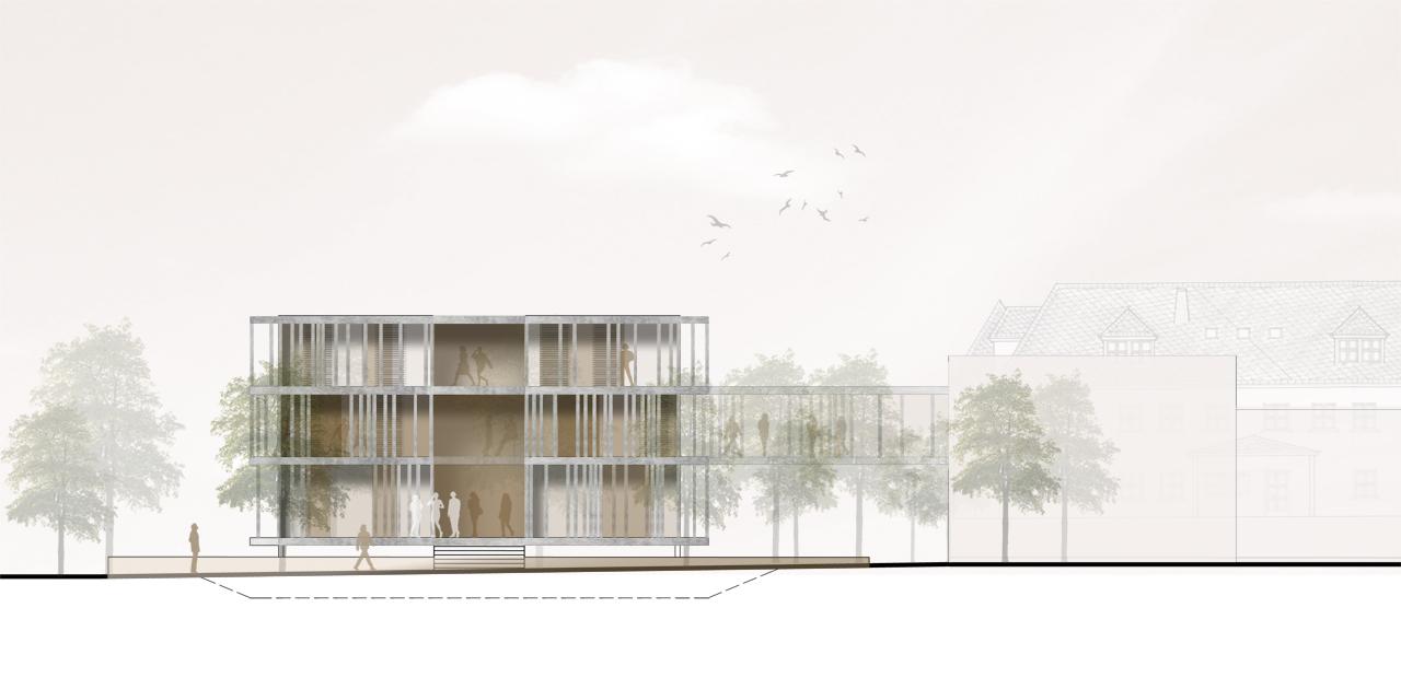 Ansicht Architektur verwaltungsgebäude für die mhi ag a z architekten