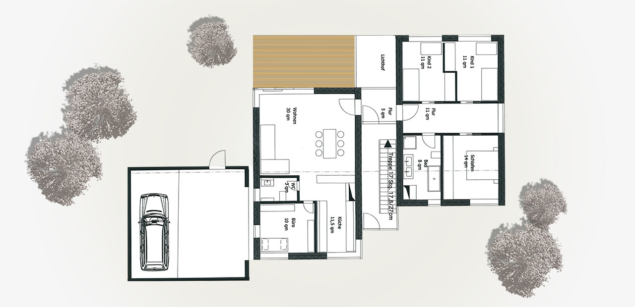 Wohnhaus d a z architekten for Grundriss wohnhaus
